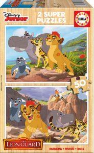 Puzzle de madera Educa La Guardia del León, Rey León 2 x 50 Piezas