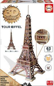 Puzzle de madera Educa 3D Torre Eiffel de 63 Piezas