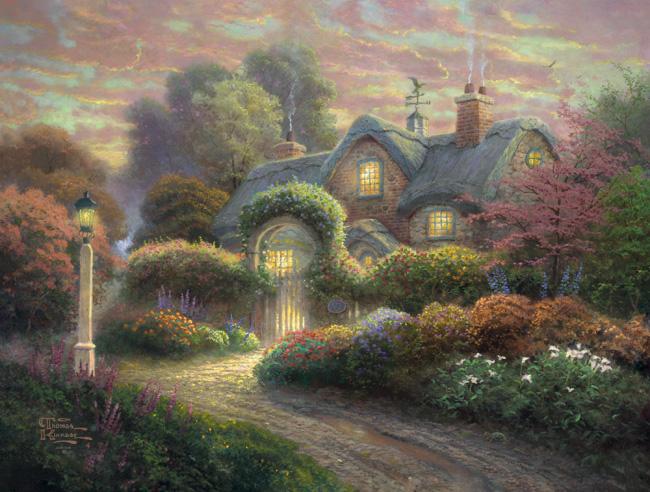 Puzzle Schmidt Cabaña con Jardín de Rosas de 1000 Piezas