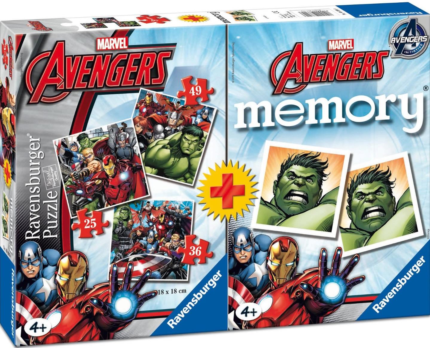 Puzzle Ravensburger Los Vengadores 25+36+49 + Memory