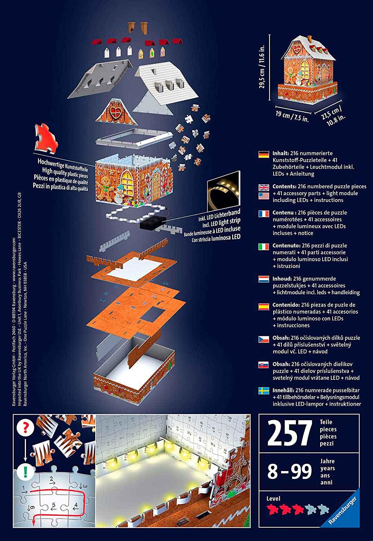 Puzzle 3D Ravensburger Casa de Jengibre con LED de 216 Pzs