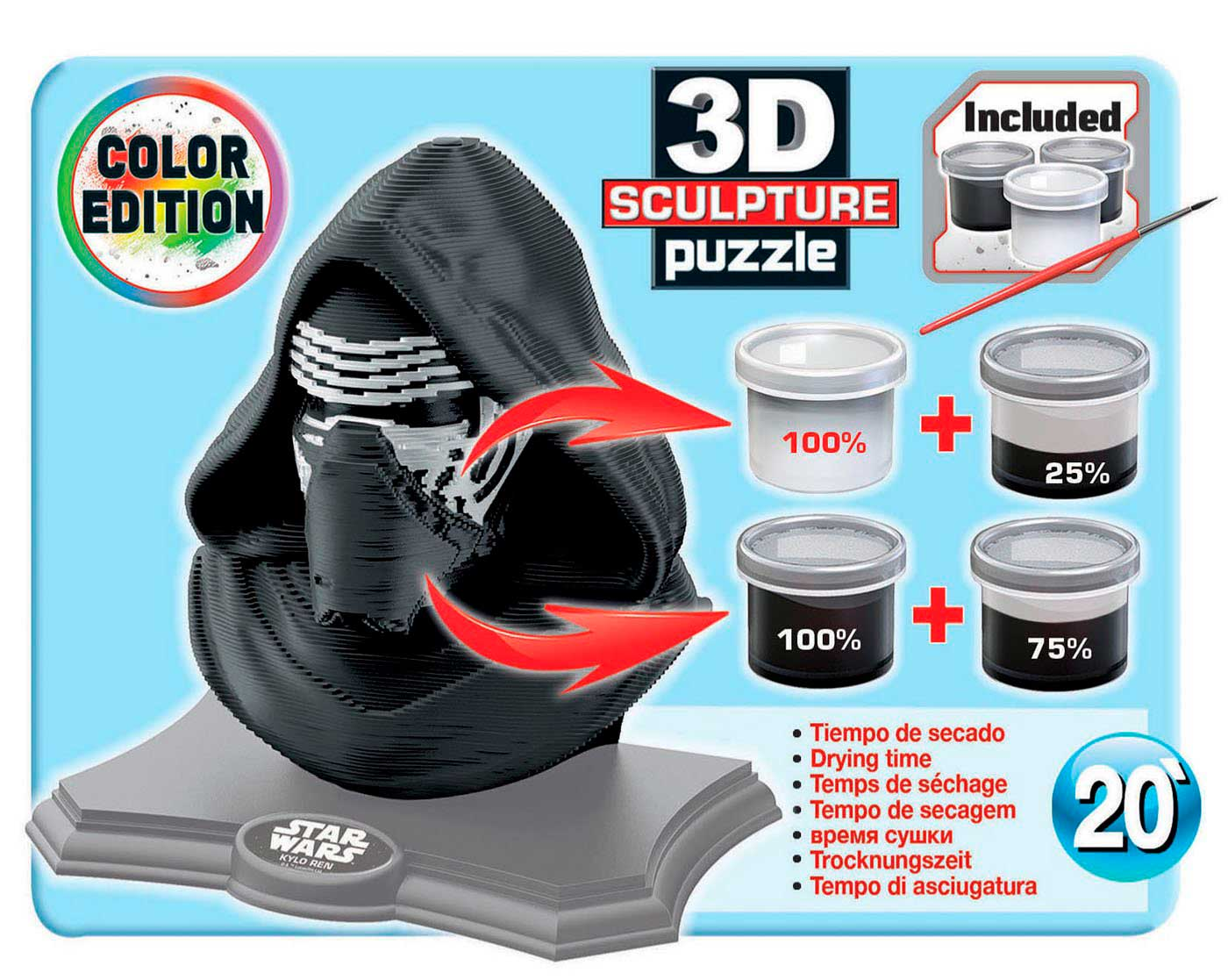 Puzzle 3D Sculpture Color Kylo Ren de 160 Piezas