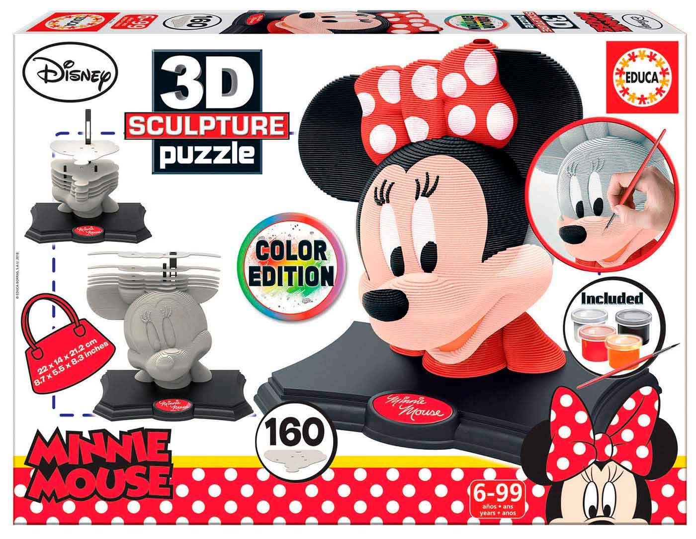 Puzzle 3D Sculpture Color Minnie de 160 Piezas