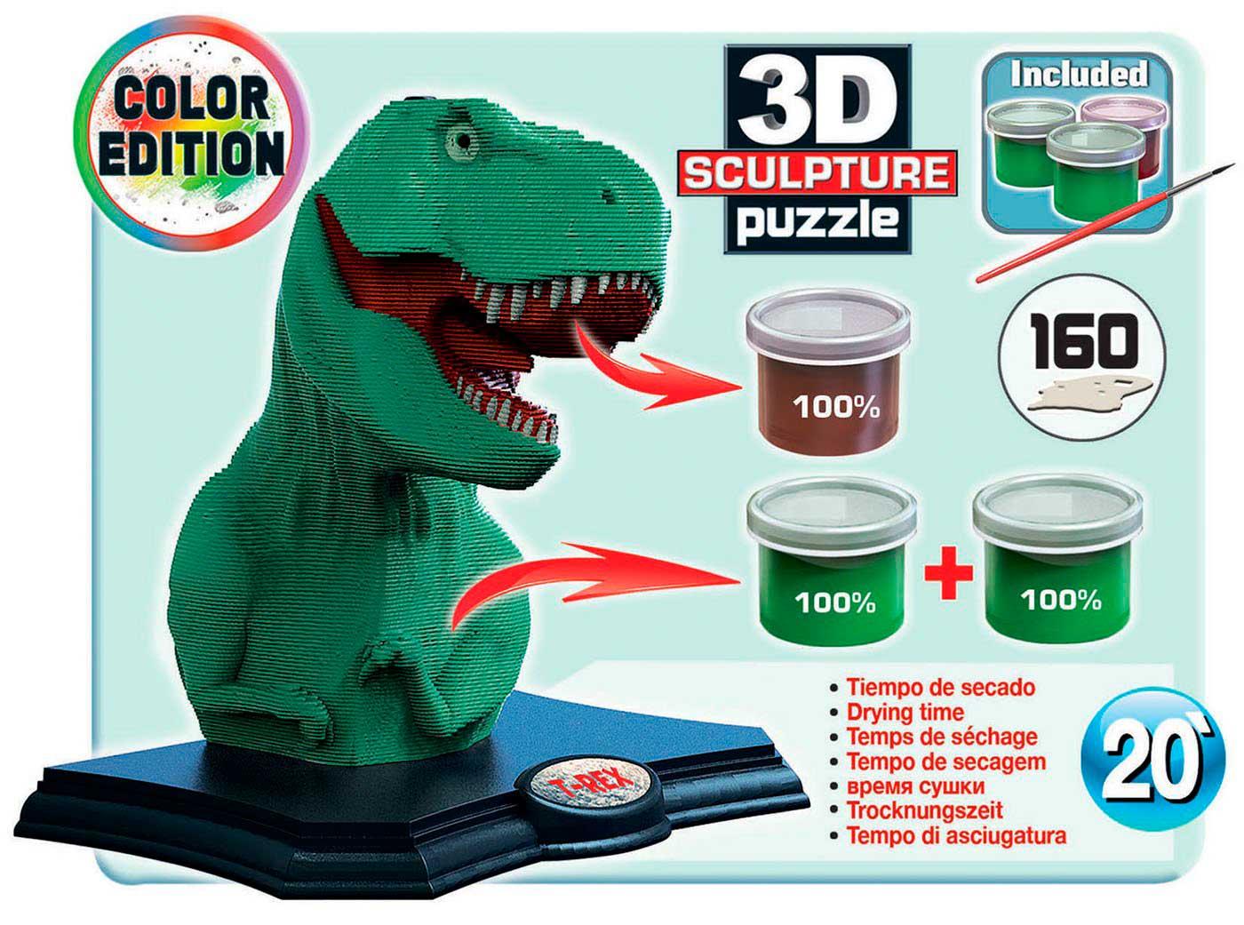 Puzzle 3D Sculpture Color T-Rex de 160 Piezas