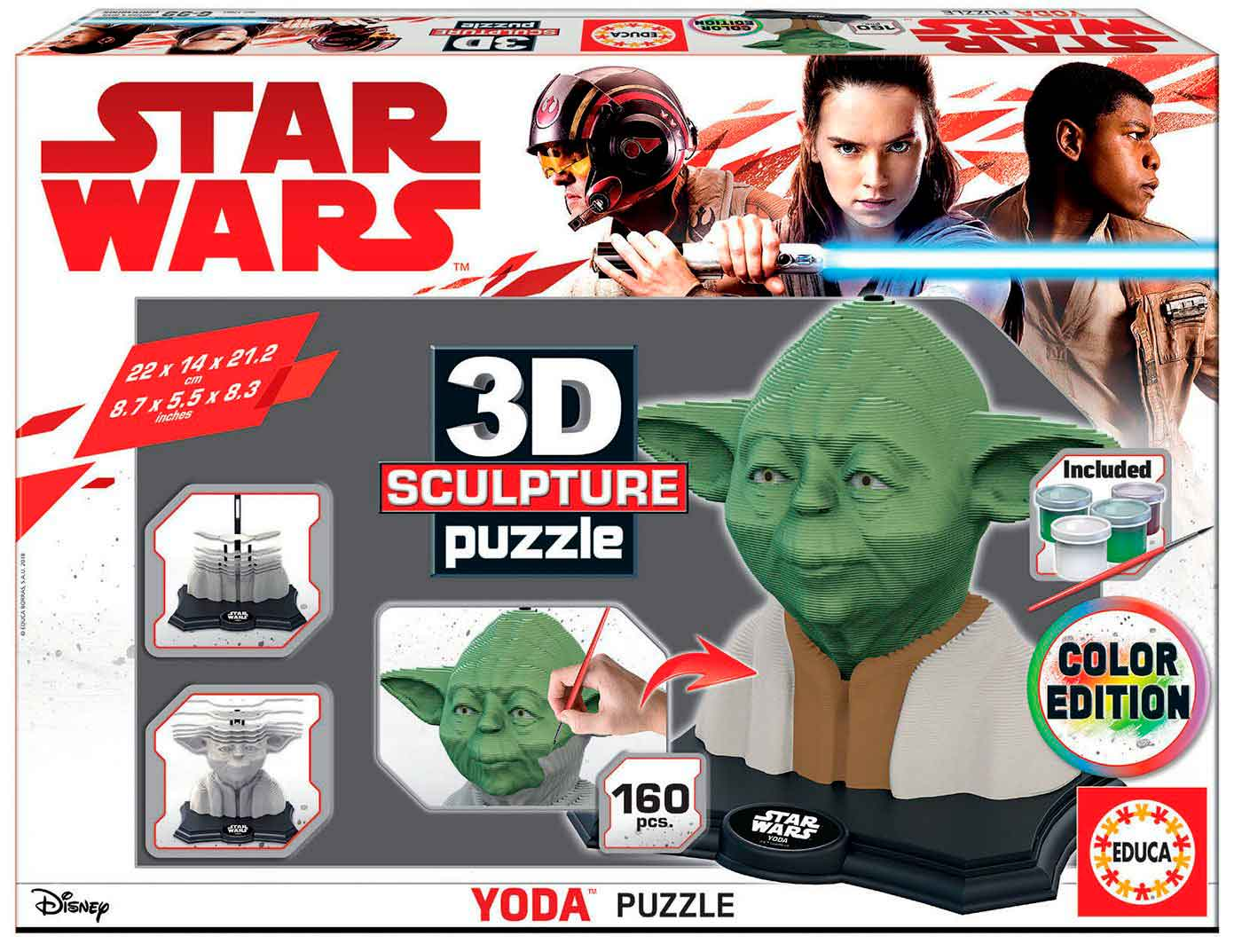 Puzzle 3D Sculpture Color Yoda Star Wars de 160 Piezas