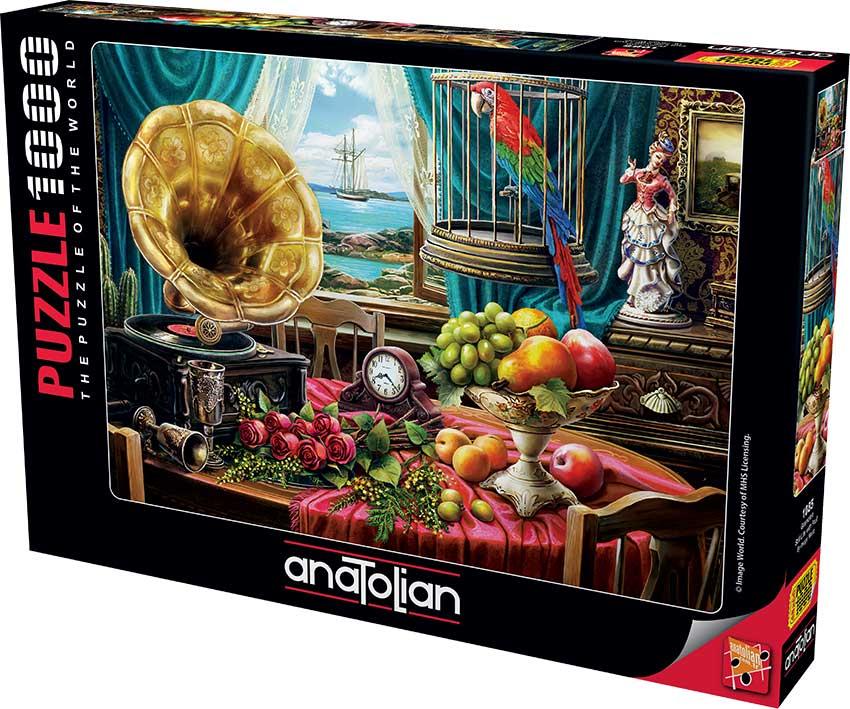 Puzzle Anatolian Bodegón con Fruta y Gramófono de 1000 Piezas