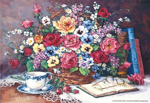 Puzzle Anatolian Bodegón de Rosas y Libros de 2000 Piezas