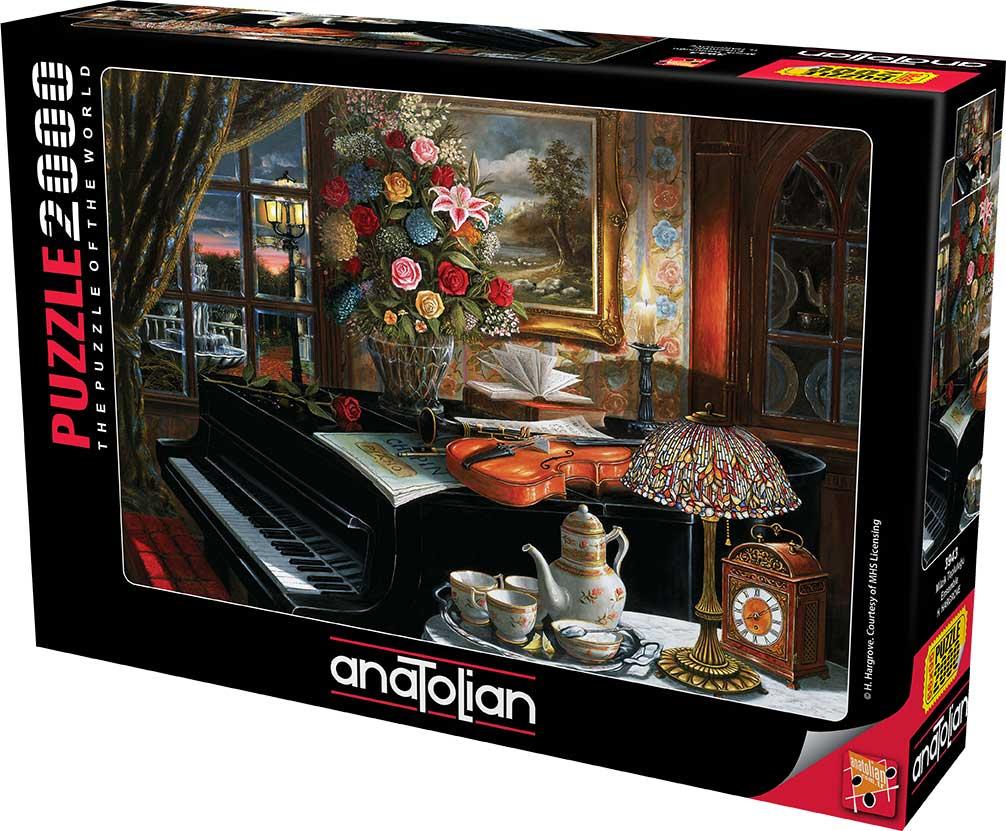 Puzzle Anatolian Bodegón Piano, Violín y Flores de 2000 Piezas