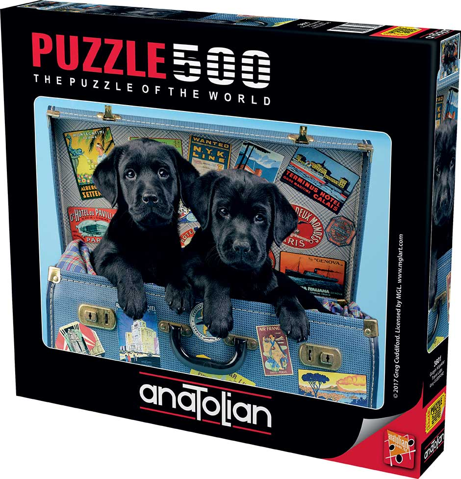 Puzzle Anatolian Cachorros Negros Viajeros de 500 Piezas