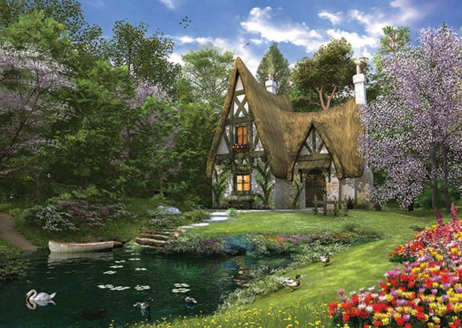 Puzzle Anatolian Casa del Lago en Primavera de 3000 Piezas