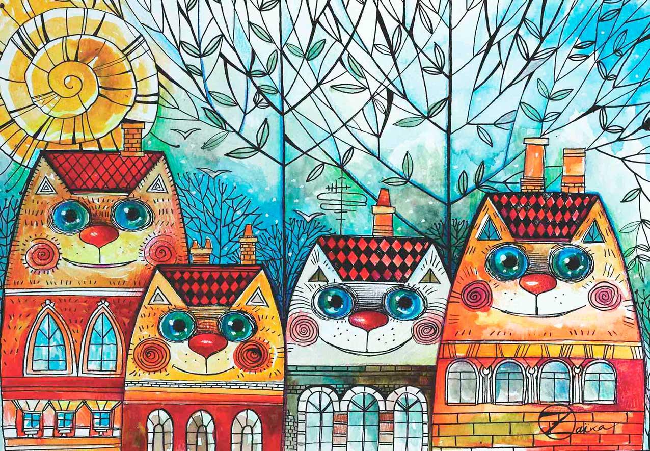 Puzzle Anatolian Ciudad de Gatos de 500 Piezas