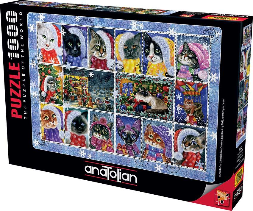 Puzzle Anatolian Colección Navidad  Sellos de Gatos 1000 Piezas