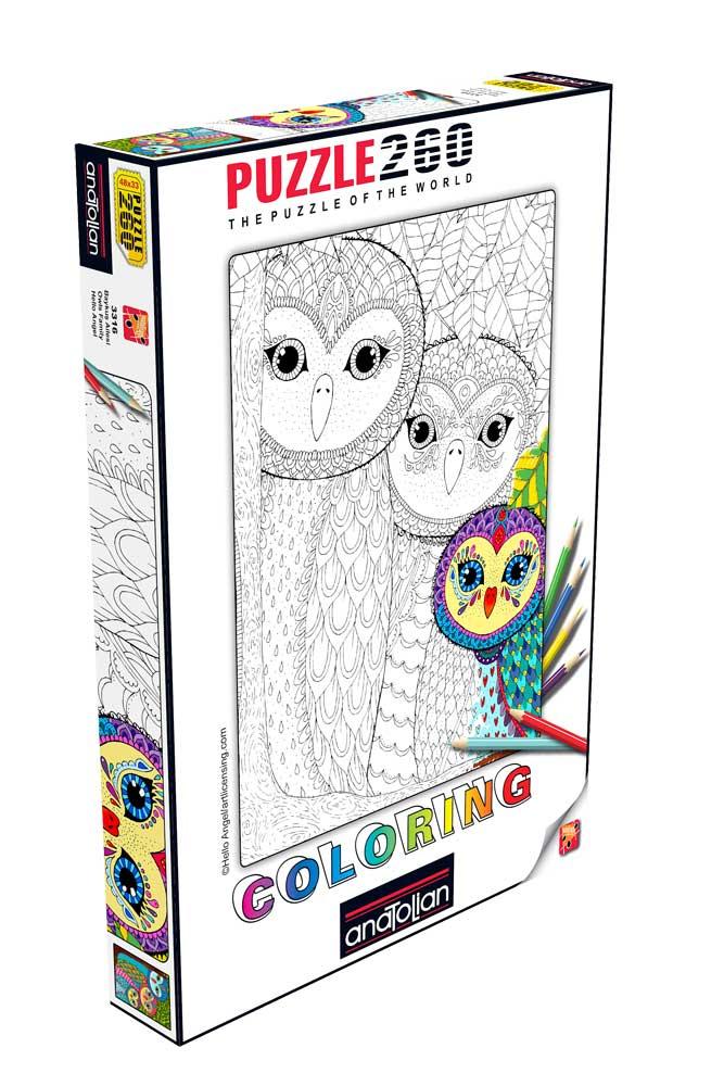 Puzzle Anatolian Familia de Buhos, Coloréame de 260 Piezas