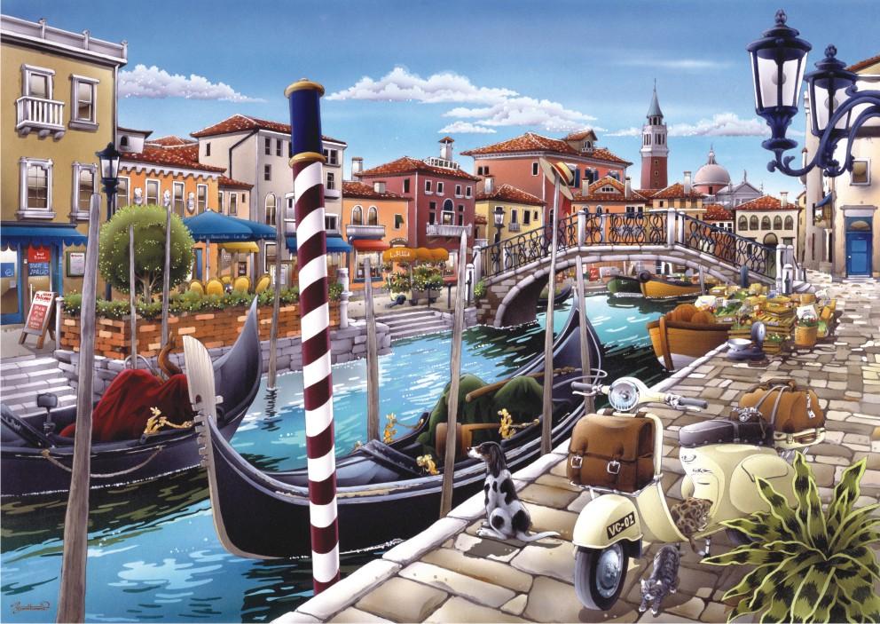 Puzzle Anatolian Góndola en el Canal de Venecia de 1500 Piezas