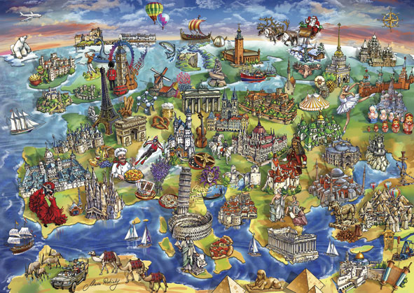 Puzzle Anatolian Hitos de Europa de 1500 Piezas
