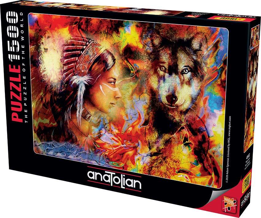 Puzzle Anatolian Mujer India y el Lobo de 1500 Piezas