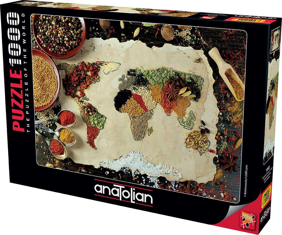 Puzzle Anatolian Mapa del Mundo con Especias de 1000 Piezas