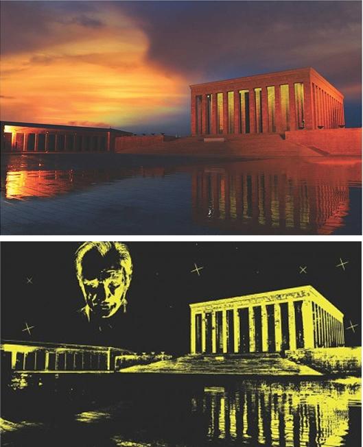 Puzzle Anatolian Mausoleo de Ataturk Neón de 1000 Piezas