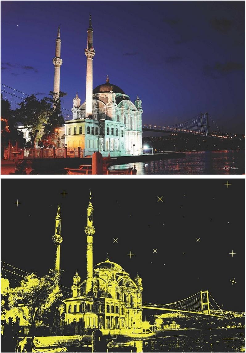 Puzzle Anatolian Mezquita Ortakoy, Neón de 1000 Piezas