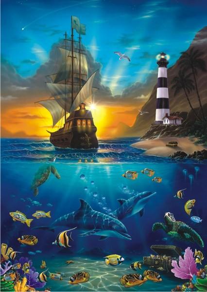 Puzzle Anatolian Piratas Cerca del Faro de 1500 Piezas