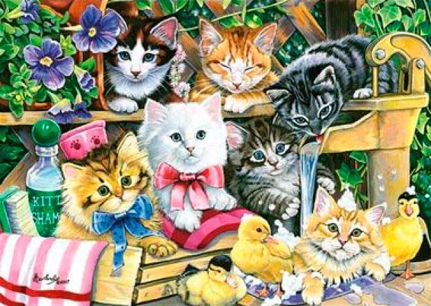 Puzzle Anatolian Sesión de Baños de Gatitos de 260 Piezas