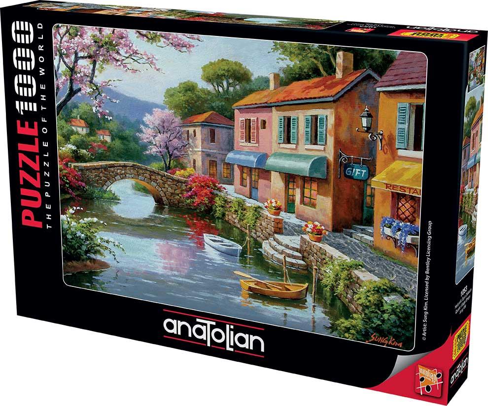 Puzzle Anatolian Tiendas en Pueblo Pintoresco de 1000 Piezas