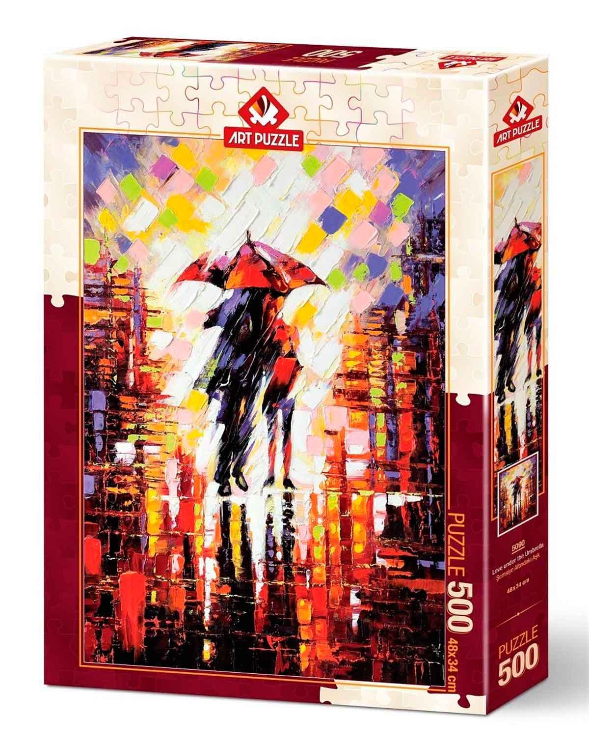 Puzzle Art Puzzle Amor Bajo el Paraguas de 500 Piezas