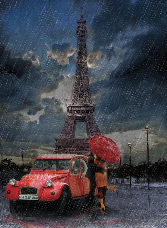 Puzzle Art Puzzle Amor y Lluvia en París de 1000 Piezas