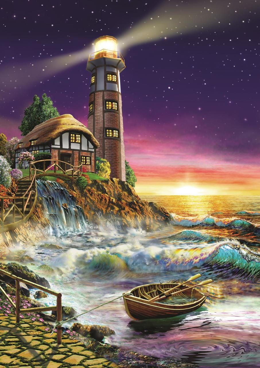 Puzzle Art Puzzle Atardecer en el Faro de 500 Piezas