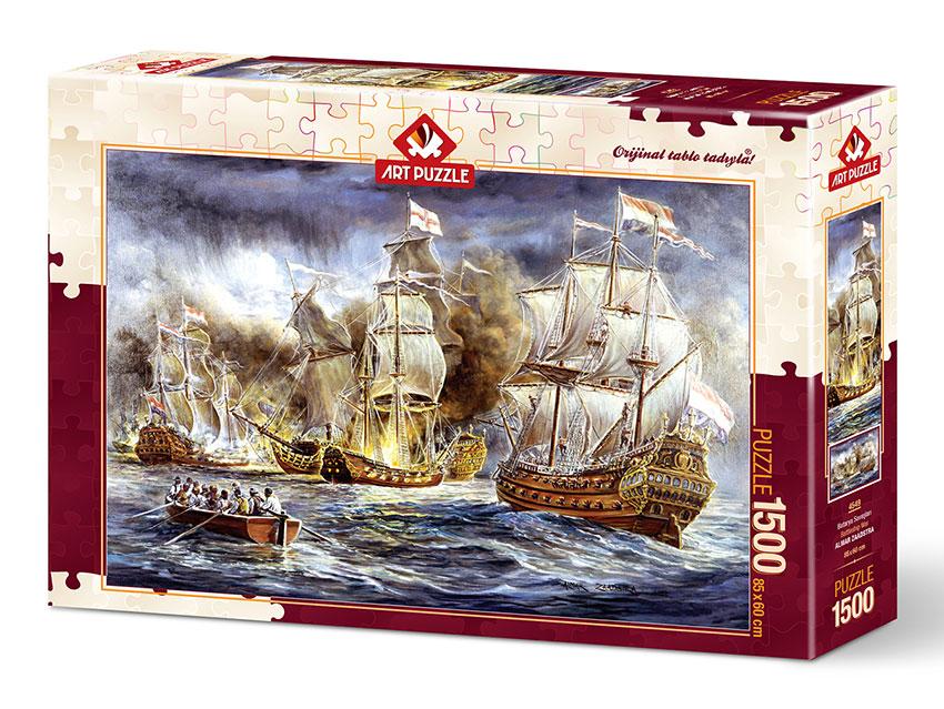 Puzzle Art Puzzle Batalla de Barcos en el Mar de 1500 Piezas
