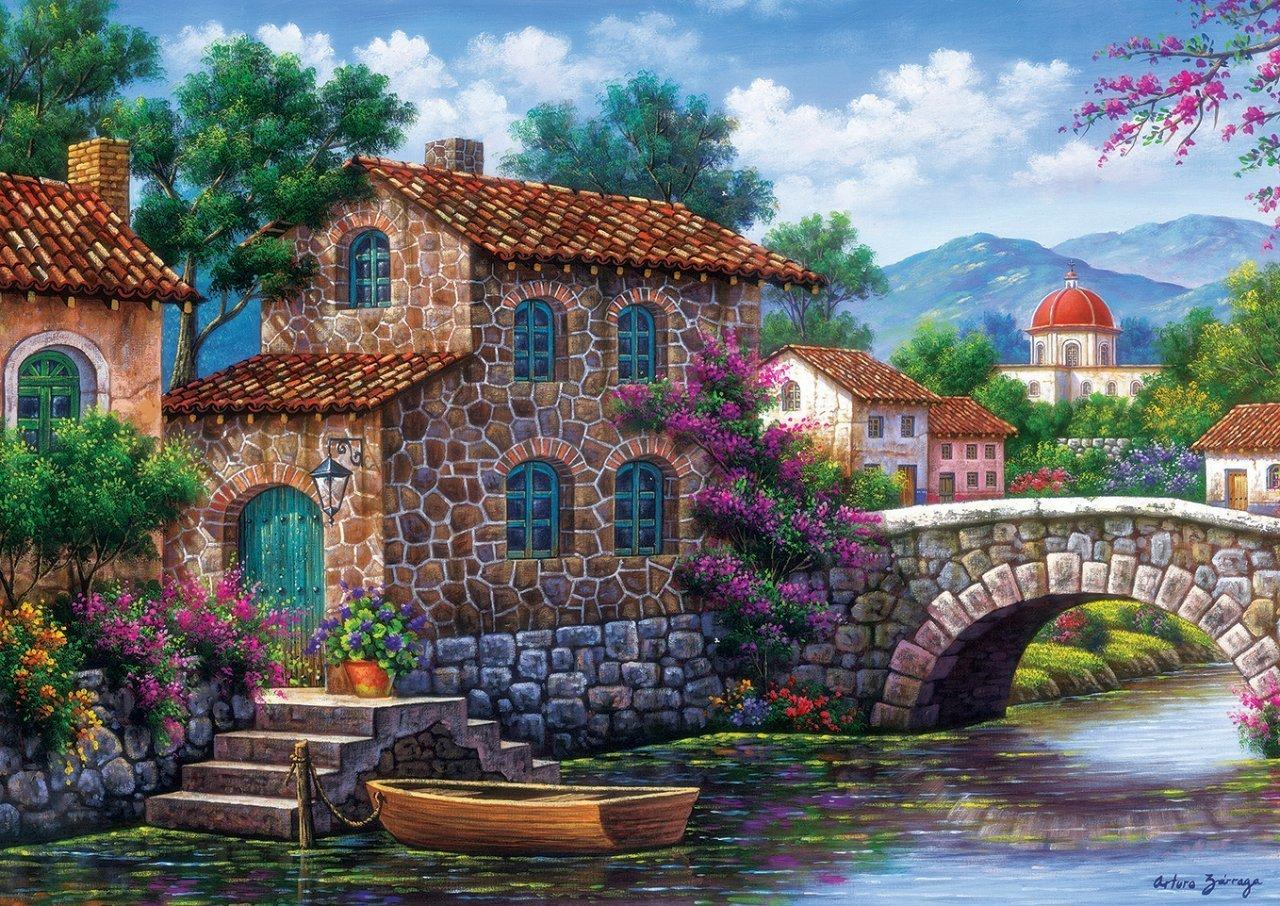 Puzzle Art Puzzle Canal con Flores de 500 Piezas