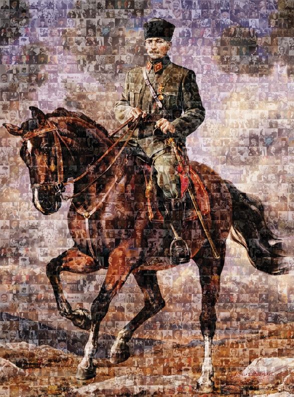 Puzzle Art Puzzle Collage de Mustafa Kemal a Caballo de 1000 Pie