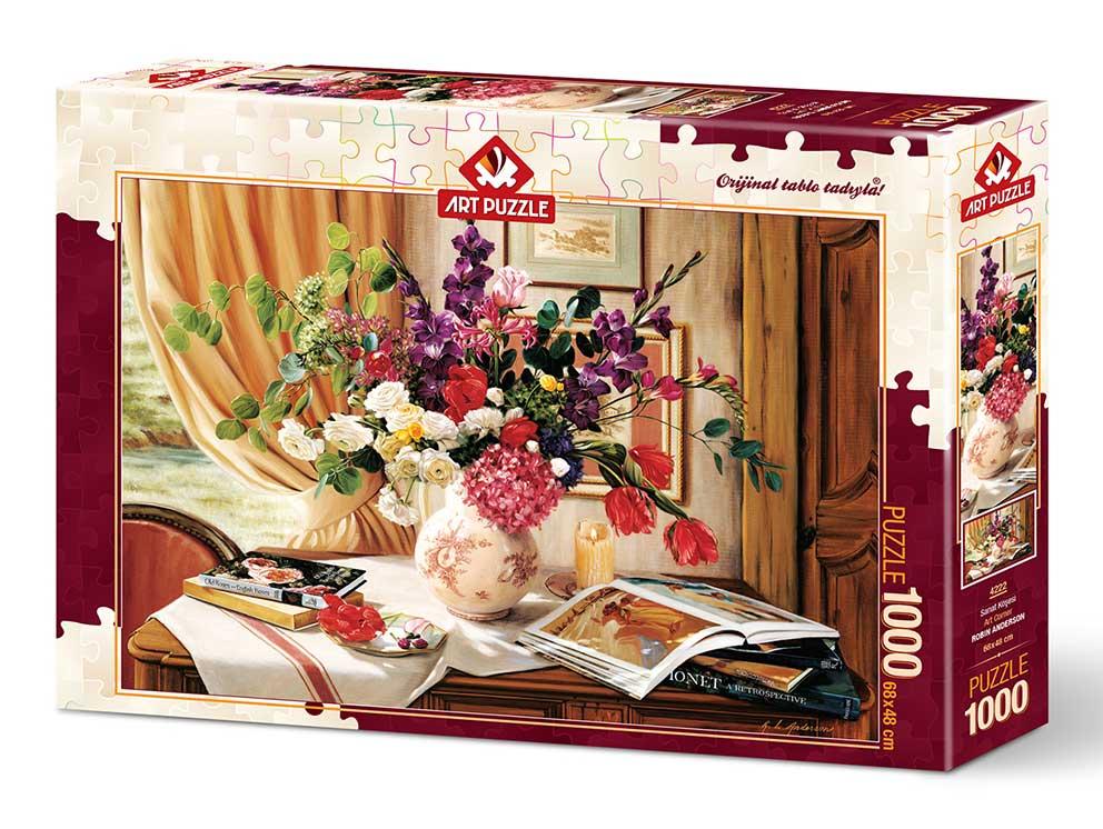 Puzzle Art Puzzle Esquina de Arte y Flores de 1000 Piezas