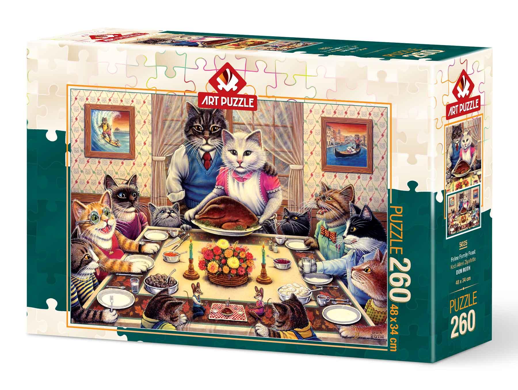 Puzzle Art Puzzle Fiesta Familiar Felina de 260 Piezas
