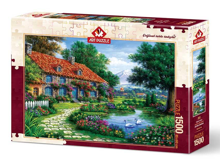 Puzzle Art Puzzle Jardín con Cisnes de 1500 Piezas