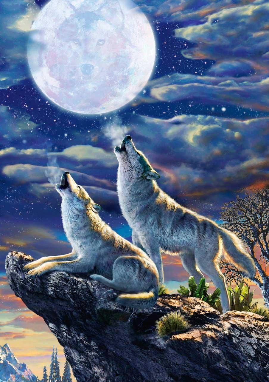 Puzzle Art Puzzle Lobos y Luna Llena de 1000 Piezas