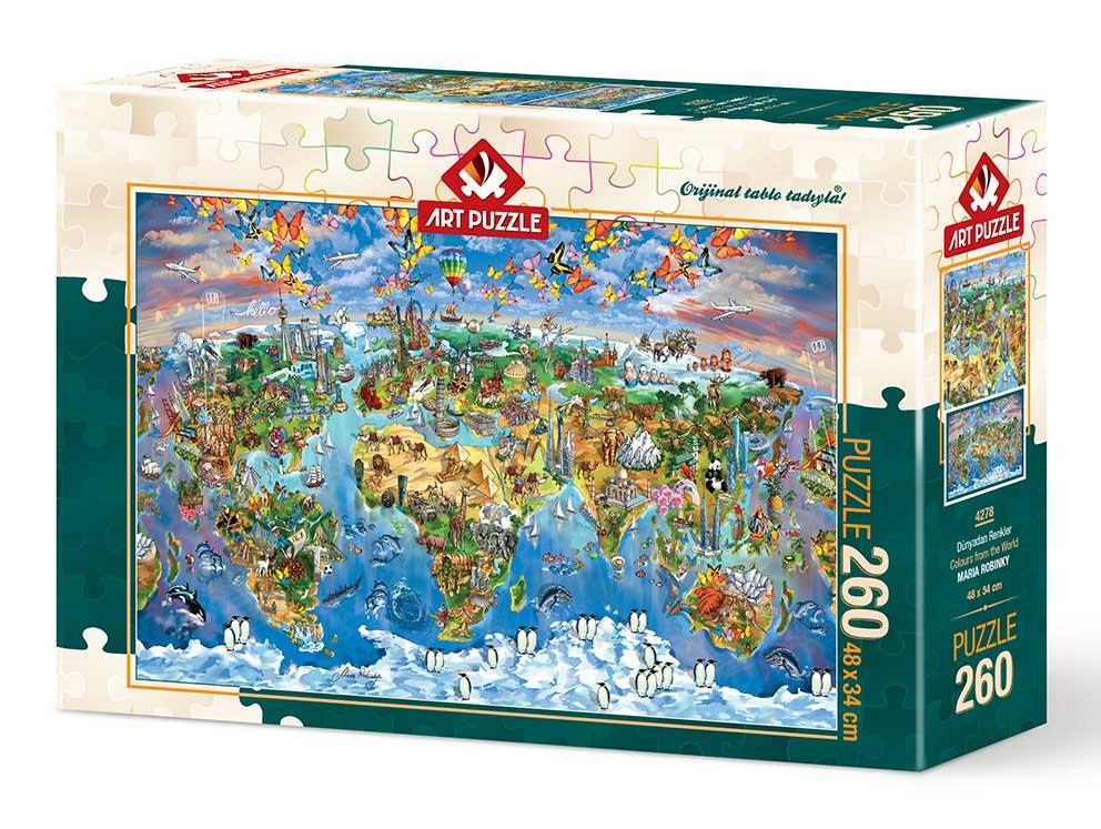 Puzzle Art Puzzle Mapa del Mundo Lleno de Color de 260 Piezas