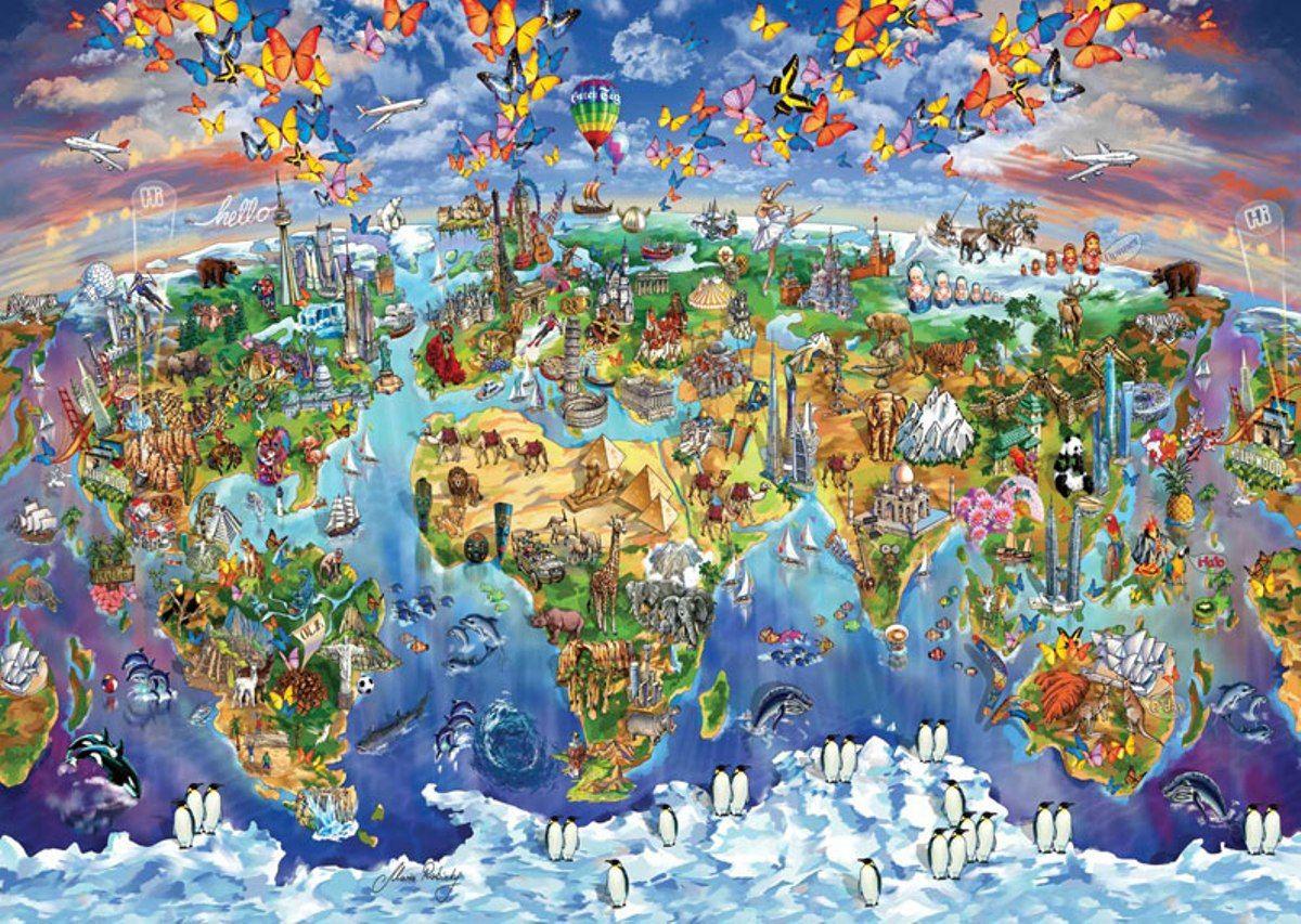 Puzzle Art Puzzle Maravilloso Mundo Ilustrado de 2000 Piezas