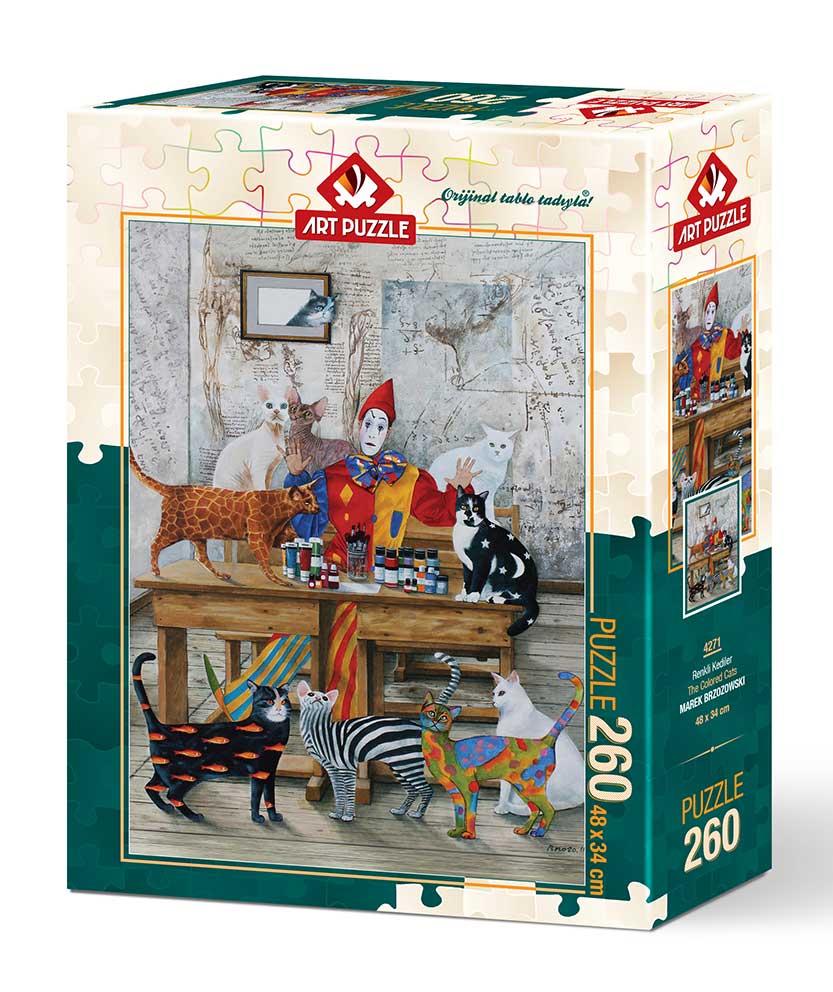 Puzzle Art Puzzle Mesa de Pintura de Gatos de 260 Piezas
