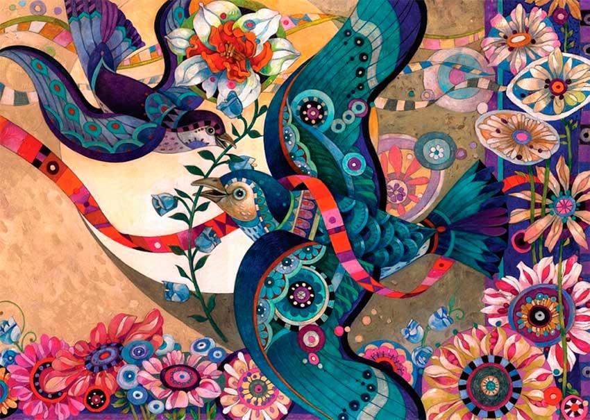 Puzzle Art Puzzle Pájaros de Colores 2000 Piezas