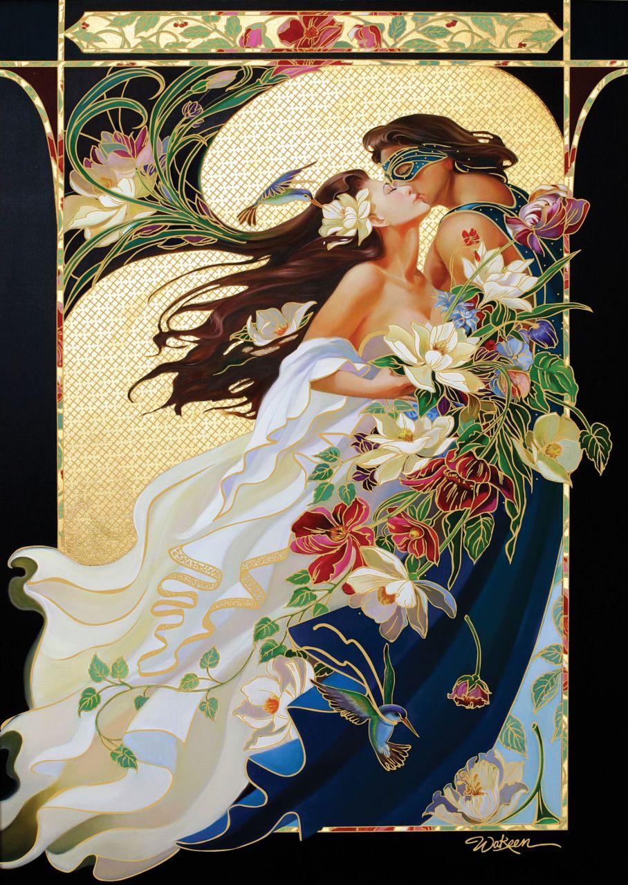 Puzzle Art Puzzle Pareja Romántica, Detalles Dorados 1000 Piezas