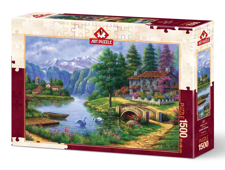 Puzzle Art Puzzle Pueblo Junto al Lago de 1500 Piezas