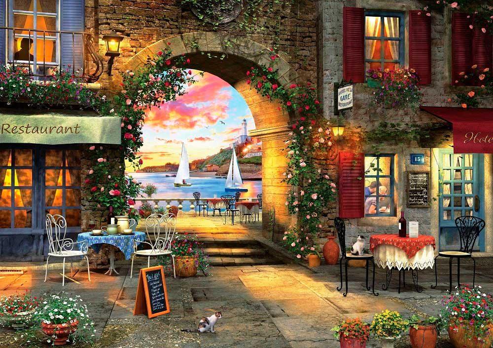 Puzzle Art Puzzle Restaurante Junto al Mar de 1000 Piezas