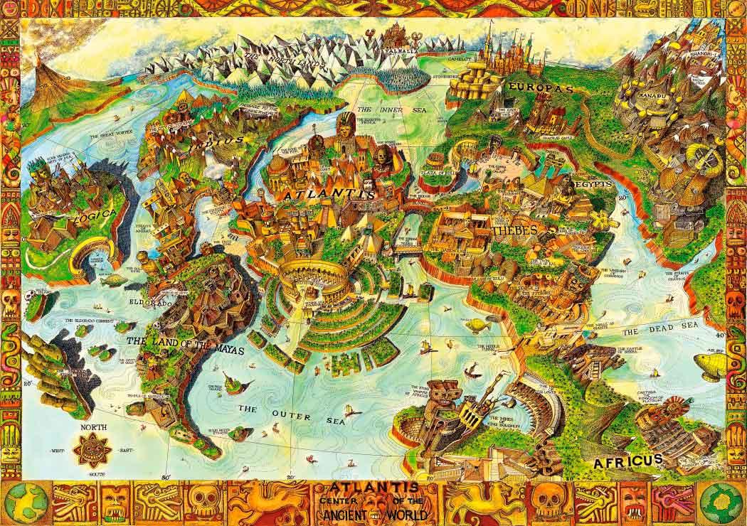 Puzzle Bluebird Atlantis Centro del Mundo Antiguo de 1000 Piezas