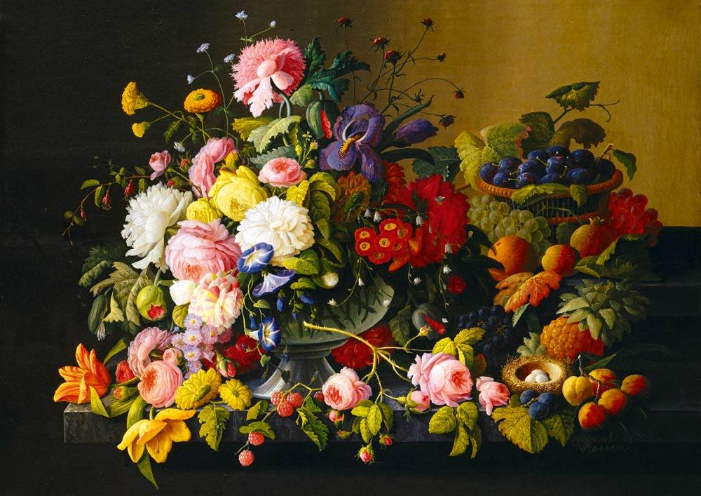 Puzzle Bluebird Bodegón, Flores y Frutas de 1000 Piezas