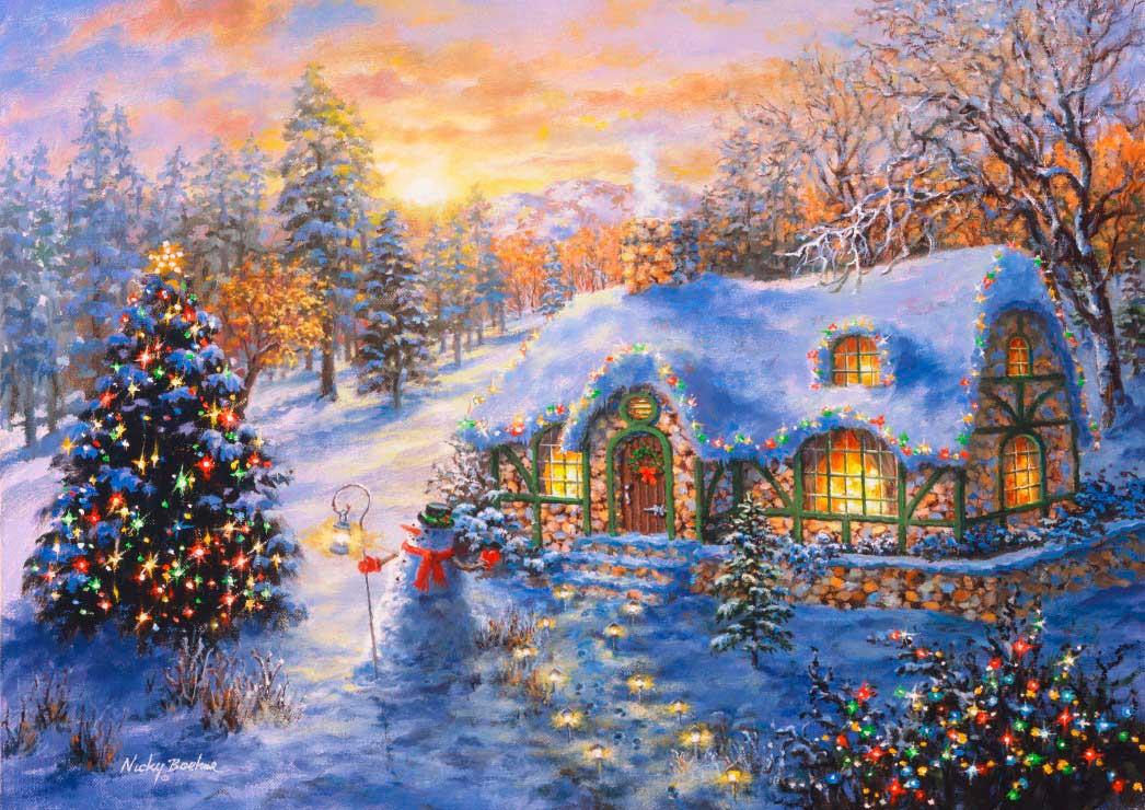 Puzzle Bluebird Cabaña de Navidad de 2000 Piezas