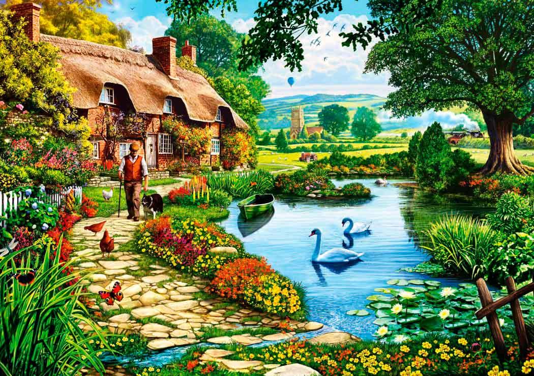 Puzzle Bluebird Cabaña en el Lago de 1000 Piezas