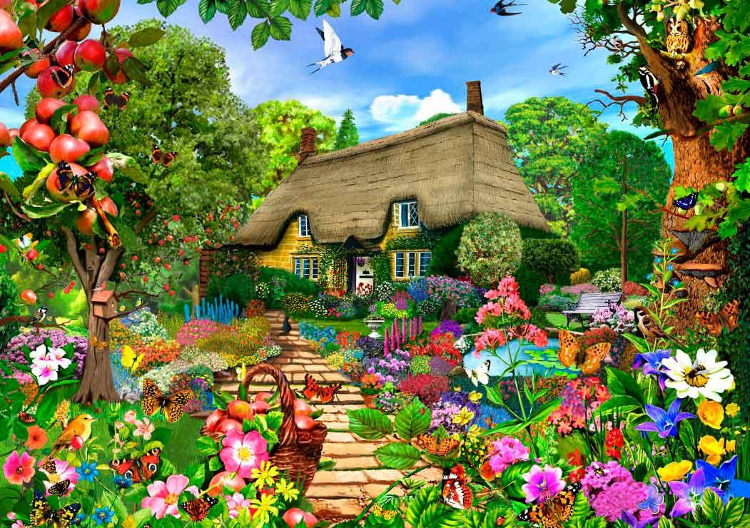 Puzzle Bluebird Cabaña en Jardín Inglés de 1500 Piezas