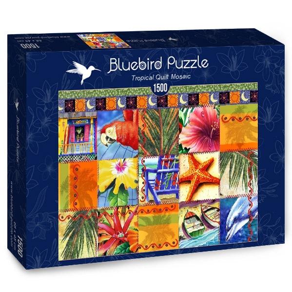 Puzzle Bluebird Colcha Mosaico Tropical de 1500 Piezas