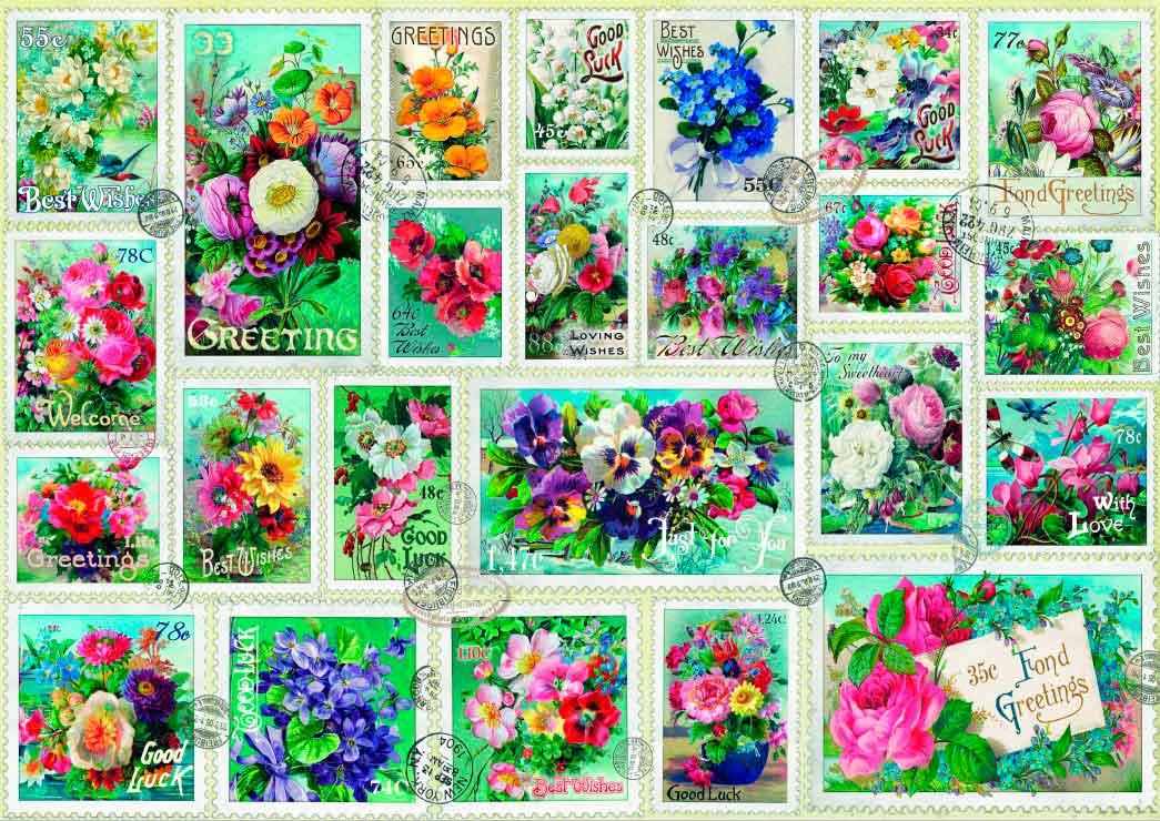Puzzle Bluebird Colección de Sellos de Flores de 2000 Pzs